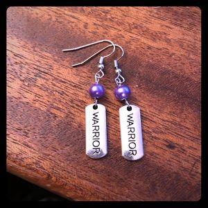 Purple beaded Warrior Earrings